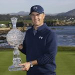 Jordan Spieth with AT&T Pebble Beach Pro-Am Trophy